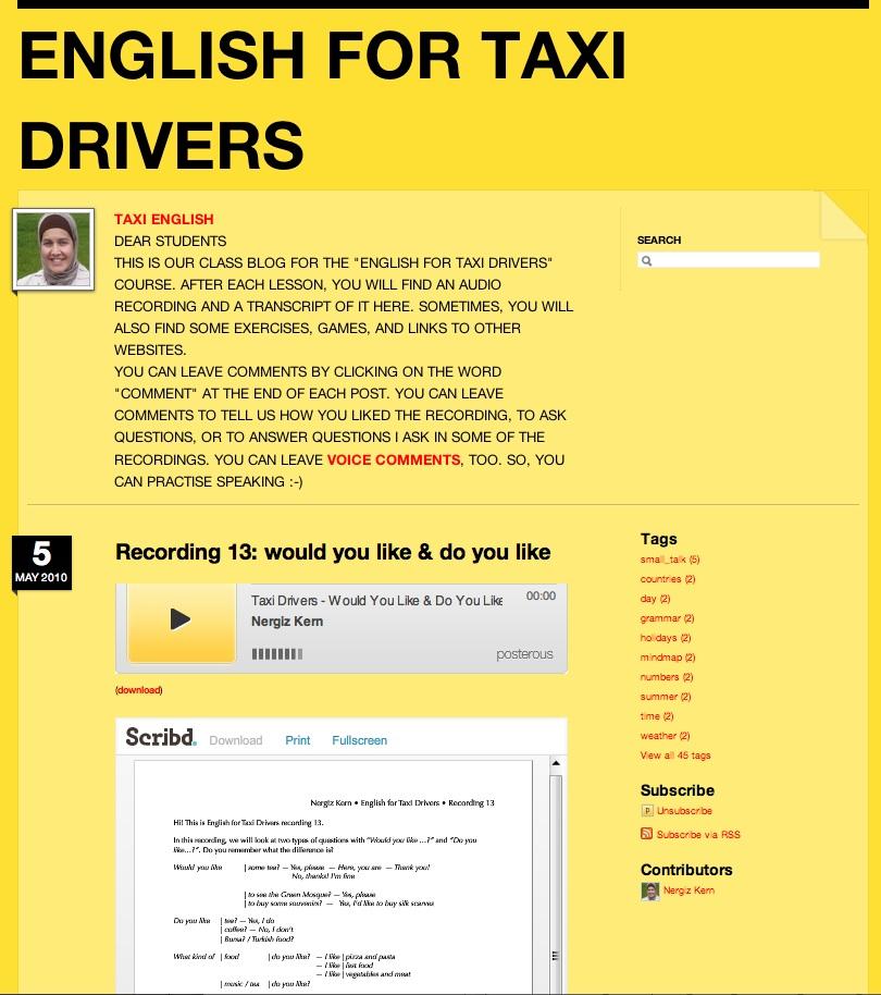 Screenshot of Posterous Taxi blog